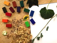 Leaf rubbing project with our Stockmar crayon blocks, leaves from garden and paper