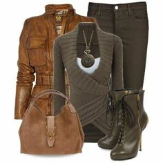brown leather jacket,cardigan,handbag,mid calf boots and jeans