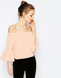 ASOS Off The Shoulder Top With Ruffle Sleeve