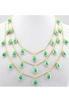 water-drop graceful three layers necklace(5colors)