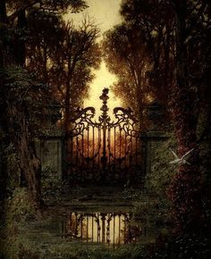 """German painter Ferdinand Knab was born The first painting, titled The Castle Gate (Das Schloss Portal), inspired some rather strange writing last year. Fantasy Magic, Fantasy World, Fantasy Art, Fantasy Forest, Castle Gate, Fantasy Places, Fantasy Landscape, Belle Photo, Faeries"