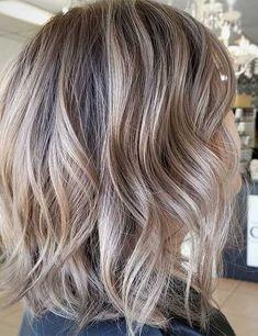 Short brown hair with blonde balayage