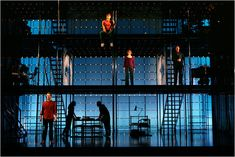 Next to Normal. Set design by Mark Wendland. 209 My set would be like this, multiple levels for the apartment. Set Design Theatre, Stage Design, Solar Powered Lights, Solar Lights, Next To Normal, Singing In The Rain, Stage Set, Scenic Design, After Dark
