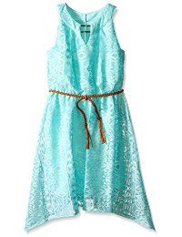 Amy Byer Girls' Lace Dress with Braided Belt