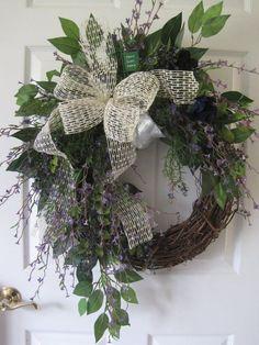 Spring Summer Wreaths, Everyday Wreath, XL Front Door Wreaths, Purple Garden Wreath, Home Decor, Gift, Handmade Custom Wreaths