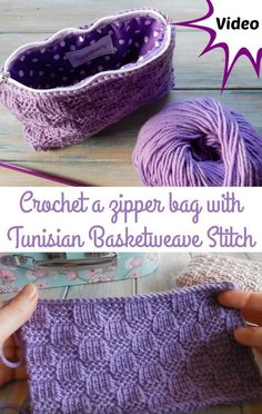 Video - how to crochet a zipper bag with Tunisian Basket Weave Stitch.  Shows how to do the zipper and lining too.  Free crochet bag pattern. #TunisianCrochetPatterns