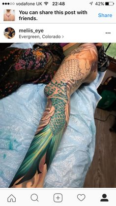 Mermaid tail fin & scales started in Danielle's full leg session today! She sat so well even in the toughest parts🙏🏻 I'm always inspired by my clients, since I too know how it feels. Can't wait to continue 🖤 Mermaid Tail Fin, Mermaid Scales Tattoo, Mermaid Sleeve Tattoos, Mermaid Tattoo Designs, Leg Sleeve Tattoo, Full Sleeve Tattoos, Fish Scale Tattoo, Mermaid Skin, Full Leg Tattoos