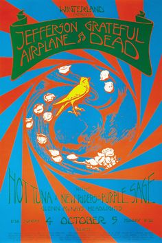 1970 Jefferson Airplane/Grateful Dead / Hot Tuna/New Riders of the Purple Sage at Winterland. Art by David Singer. Hippie Posters, Rock Posters, Band Posters, Music Posters, Woodstock, Musik Illustration, Grateful Dead Poster, Vintage Concert Posters, Jefferson Airplane