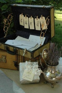 Fabulous old suitcase used for 'Cards'...this was made for Franci and Chad's wedding at the Coloma Country Inn