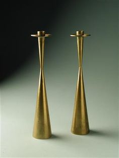 Candlesticks, designed by Tapio Wirkkala for Kultakeskus OY Finland Brass Candle Holders, Vintage Candle Holders, Candlesticks, Candleholders, Ceramic Tableware, Copper And Brass, Mid Century Design, Glass Design, Interiores Design