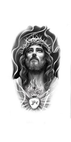 Tattoo Design Drawings, Tattoo Sketches, Tattoo Designs, Christ Tattoo, Jesus Tattoo, Urban Tattoos, Body Art Tattoos, Jesus Christ Drawing, Beard Shapes