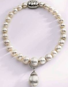 Duchess of Windsor (originally belonging to Queen Mary) natural pearl and diamond necklace by Cartier, purchased at auction by Calvin Klein for then wife, Kelly.