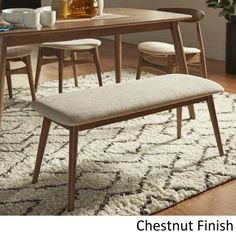 Shop Norwegian Danish Modern Tapered Upholstered Dining Bench iNSPIRE Q Modern - On Sale - Overstock - 20882573 - Natural Dining Room Bar, Dining Chairs, Lounge Chairs, Ikea Dinning Table, Kitchen Seating, Dining Sets, Office Chairs, Kitchen Dining, Upholstered Dining Bench