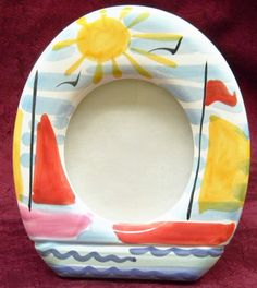 """Hand-Painted Art Pottery Sail Boat Photo Picture Frame - 5""""x5"""" Circle - Italy #Handmade #Mediterranean"""