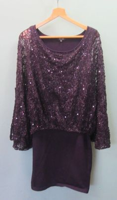 d7a5338d39c5c Ladies Phase Eight Purple Sequin Layered Dress - UK Size 10 #23D #fashion #