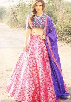 Sanaa Khan # brocade lehenga # summer is here # wedding look #