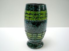 Vintage Italian Pottery Vase Blue & Green by MTippingAtelier, $48.00