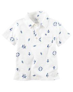 Kid Boy Nautical Slub Jersey Polo   Carters.com
