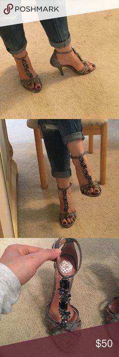 """👠👠VINCE CAMUTO SANDALS👠👠 Sexy height heel strap pt sandals. T-Straps with jewels as shown.  Grey snake skin with grey jewels.  4"""" heel.  In great condition Vince Camuto Shoes Heels"""