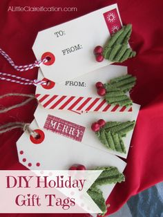 Sweater embellished (!!) Handmade Holiday Gift Tags with ALittleClaireification.com #Crafts #Holidays #Christmas