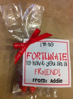 """Fortune cookie valentines - red & pink fortune cookies can be purchased from Oriental Trading.  Font for """"fortunate"""" is called Chinese Takeaway."""