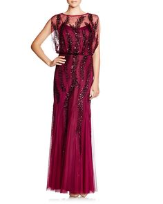 Aidan Mattox Cap Sleeve Embellished Blouson Gown | 100% POLYESTER LINING: 100%…