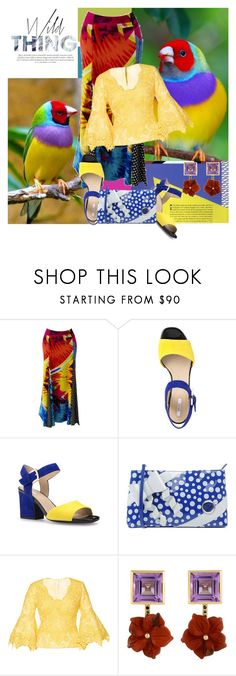 """""""Birds"""" by ladygroovenyc ❤ liked on Polyvore featuring Versace, Geox, TUA by Braccialini, Costarellos, Tessa Packard, maxiskirt, Spring2017 and brocadeblouse"""