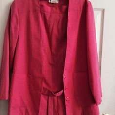 Vintage suits. Magenta pink vintage suits.Top: jacket have 2 pockets , pleated at the back. Skirt have also 2 pockets on both side , no garter (elastic) button for closure. Size 8 . 70 percent polyester, 25 rayon and 5 percent silkNWOT Dresses
