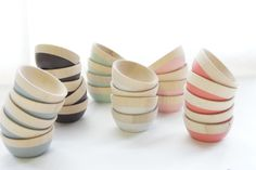 Mini Wood Bowls, Set of Two: Mint Green, Chocolate Brown, great for condiments in the kitchen or jewls in the bedroom