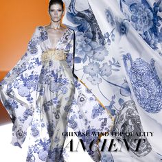 559109b711e Blue and white porcelain printing Silk chiffon clothing fabrics mulberry  silk DIY craft silk dress material