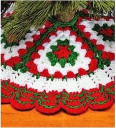 Vintage Crochet Pattern Quick Easy Granny Square Christmas Tree Skirt PDF Instant Digital Download Bulky 12 Ply 36""