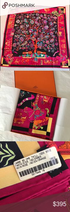 "NWT Hermes Fantaisies Indiennes Silk Scarf 100% authentic. Brand new / never used. Box included. 36"" X 36"" or 90cm X 90cm. ""In the centre of this carré, an exuberant Tree of Life extends its branches laden with sumptuous blossoms and fruit, drawn with great delicacy. The tree is framed here by a lively frieze of people and animals, inspired by the frescos and wall paintings of Shekharvati in north-western Rajasthan, in India, where their distinctive, naïf style decorates the homes of wealthy…"