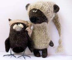 bear in the sweater and the hat by totootse on Etsy