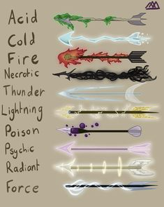 [OC] My DM made me some elemental arrows so I drew them! from via /r/DnD Fantasy Character Design, Character Art, Magia Elemental, Magic Design, Anime Weapons, D&d Dungeons And Dragons, Mythical Creatures Art, Weapon Concept Art, Magic Art