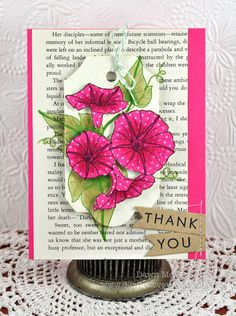 Year Of Flowers Morning Glories Thank You Card by Dawn McVey for Papertrey Ink (April 2012)