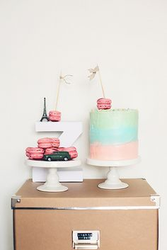 Six layer funfetti ombre cake