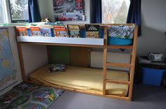 IKEA Kura Bed Hack | IKEA Hackers: High sleeper bookshelf (KURA+RIBBA) I'm going to get one of these beds (even if we have to make it!) for the boys!
