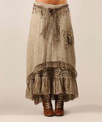 Beige Kelly Wool-Blend Skirt