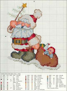 Another cute Santa Cross Stitch for Christmas - Grandma H! Santa Cross Stitch, Cross Stitch Charts, Counted Cross Stitch Patterns, Cross Stitch Designs, Cross Stitch Embroidery, Embroidery Patterns, Cross Stitch Christmas Ornaments, Christmas Cross, Merry Christmas