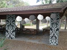 Paper Decor Help! How do I cover these pillars? :  wedding crepe paper decor diy opinions park shelter tissue paper Shelter 122 Copy