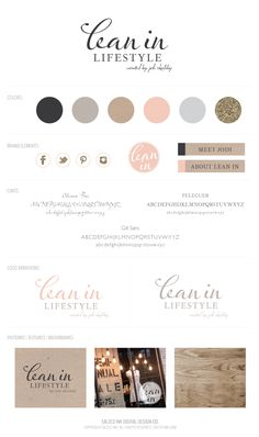 Homewares branding and identity: Lean-In-Lifestyle-Branding-Board-by-Salted-Ink Brand Identity Design, Graphic Design Branding, Corporate Design, Identity Branding, Business Branding, Graphic Designers, Brochure Design, Visual Identity, Web Design