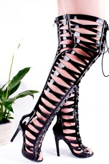 BLACK OPEN POINT TOE FRONT LACE UP STRAP ALL OVER THE KNEE CUTOUT MULTI STRAP DESIGN BACK ZIPPER OVER THE KNEE STILETTO HIGH HEEL BOOTS SHOES