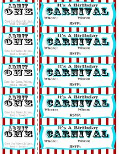 Free printable carnival party invitation