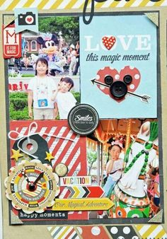 Disney scrapbooking idea. Love the buttons to make a 3D Mickey head.