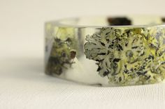 lichen and twig eco resin bangle with triangular by RosellaResin, $80.00