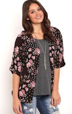 Deb Shops Grunge Floral Crepe #Kimono $15.00