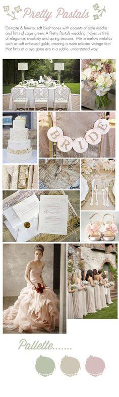 Delicate and feminine. Pale gold and blush wedding theme. #pastelwedding