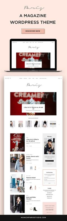 Paris is a fancy, cute and highly customizable WordPress Theme perfect for lifestyle and fashion bloggers. It features a beautiful slider and a cool magazine section to decrease the bounce rate of your website. To learn more and see all features of our Paris Theme, click on this pin and see the Paris WordPress theme live!#wordpressthemes #webdesigninspiration #wordpressdesign | WordPress Design Inspiration Blog | WordPress Theme Blog | WordPress Blog erstellen | Start a WordPress Blog Wordpress Website Design, Website Design Layout, Wordpress Theme Design, Website Design Inspiration, Premium Wordpress Themes, Fashion Website Design, Bounce Rate, Web Design Trends, Paris Theme