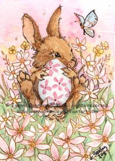 "ACEO- ""Easter Bunny & Pink Daisies"". whimsical Easter Bunny and nature art on Etsy, $24.00"