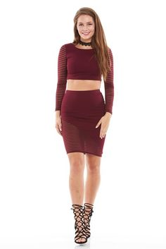 Shadow Mesh Side Pencil Skirt
